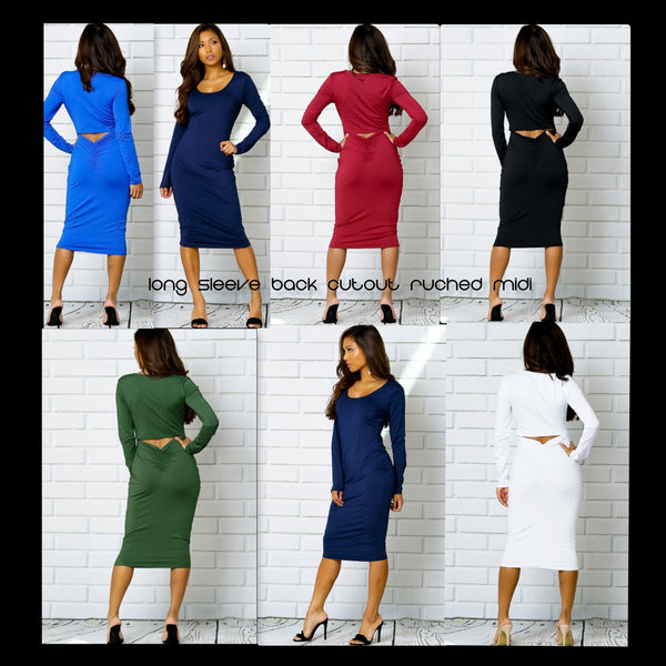 LONG SLEEVE BACK CUTOUT RUCHED MIDI