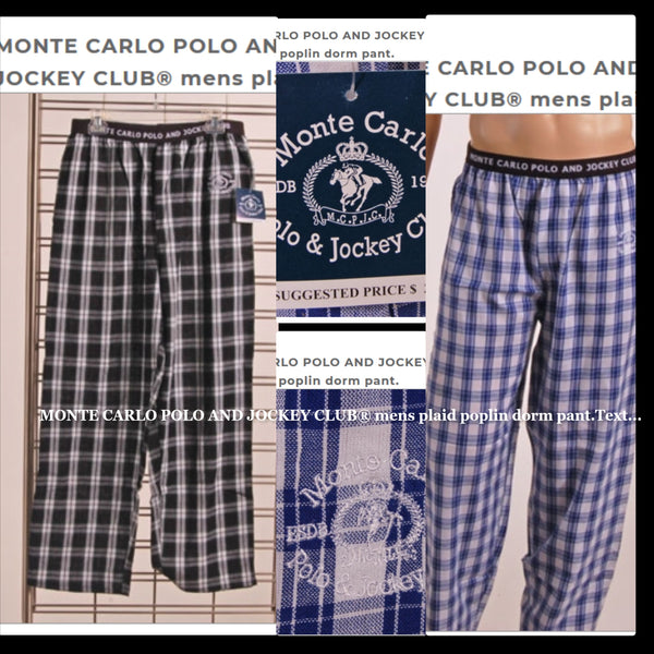 MONTE CARLO POLO AND JOCKEY CLUB® mens plaid poplin dorm pant.