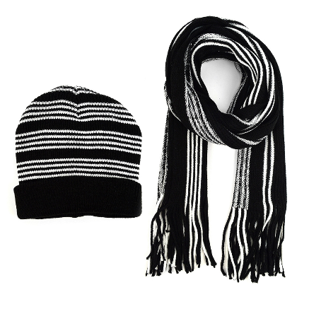 Men`s Winter Knit Scarf and Hat Set