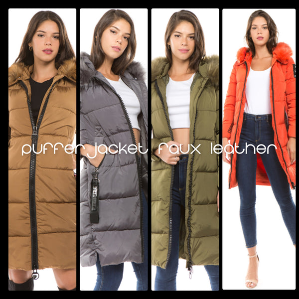 PUFFER JACKET FAUX LEATHER
