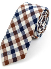 Men's Brown Plaid Cotton Slim Tie