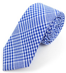 Men Royal Blue Plaid Cotton Slim Tie