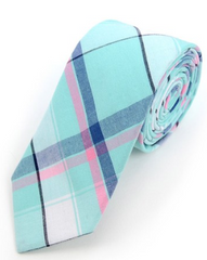 Men Turquoise Plaid Cotton Slim Tie