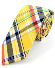 Men's Yellow Plaid Cotton Slim Tie