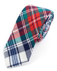 Men's Red Plaid Flannel Cotton Slim Tie