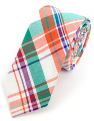 Men's Orange Green Plaid Cotton Slim Tie
