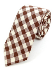 Men's Brown Beige Plaid Cotton Slim Tie