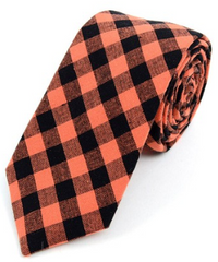 Men's Orange Black Plaid Cotton Slim Tie