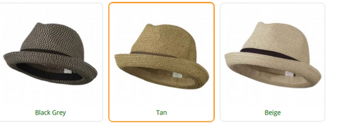 Large Men's Fedora with Paper Straw Braid - Tan