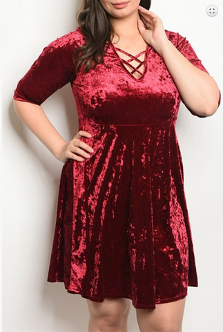 WINE SWAY PLUS SIZE DRESS