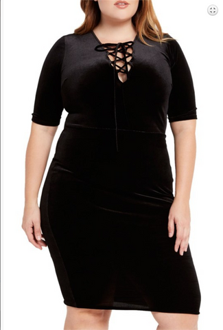 Plus size bodycon mid-length dress with self-tie neckline and half sleeves. Self Fabric: 90% Polyester 10% Spandex, Lining: 100% Polyester