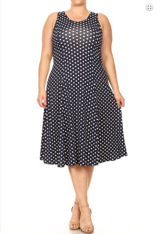A-line sleeveless midi dress with a pleated skirt and a polka dot pattern.