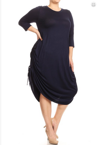 Solid Curved Hem Plus Size Dress