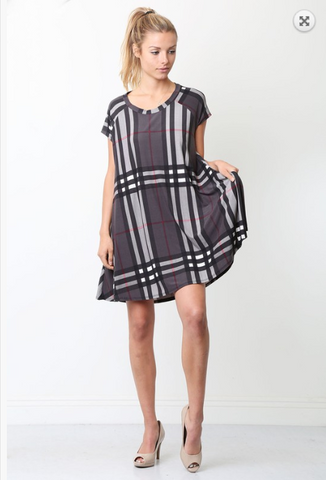 PLAID PRINT MINI DRESS WITH POCKETS