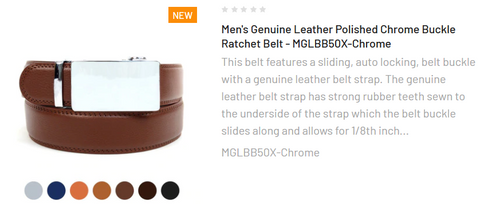 Men's Genuine Leather Polished Chrome Buckle Ratchet Belt - MGLBB50X-Chrome