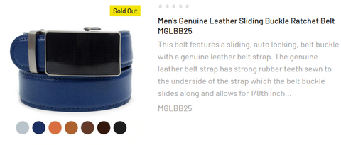Men's Genuine Leather Sliding Buckle Ratchet Belt MGLBB25