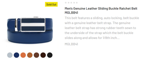 Men's Genuine Leather Sliding Buckle Ratchet Belt MGLBB32