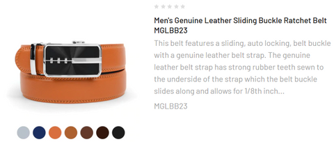 Men's Genuine Leather Sliding Buckle Ratchet Belt - MGLBB51