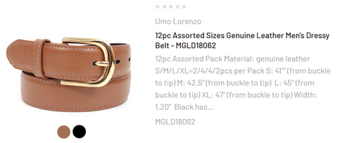12pc Assorted Sizes Genuine Leather Men's Dressy Belt - MGLD18062
