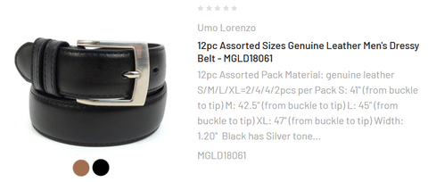 12pc Assorted Sizes Genuine Leather Men's Dressy Belt - MGLD18061