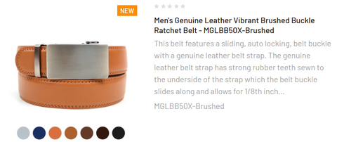 Men's Genuine Leather Vibrant Brushed Buckle Ratchet Belt - MGLBB50X-Brushed