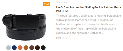 Men's Genuine Leather Sliding Buckle Ratchet Belt - MGLBB53