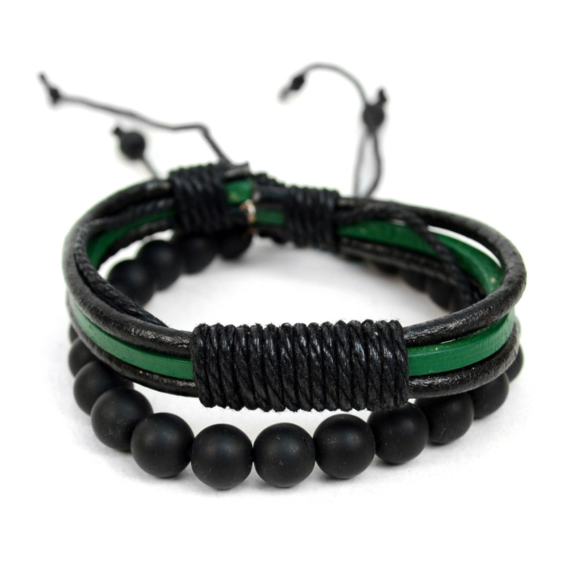 Genuine Leather 2 Piece Bracelet Set for Men
