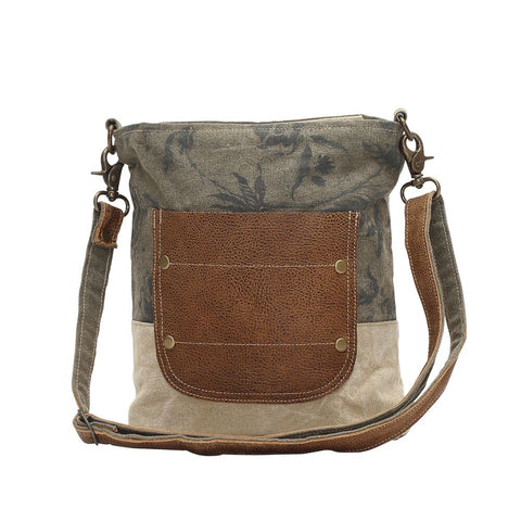 Floral Print Canvas Bag w/Leather Pocket