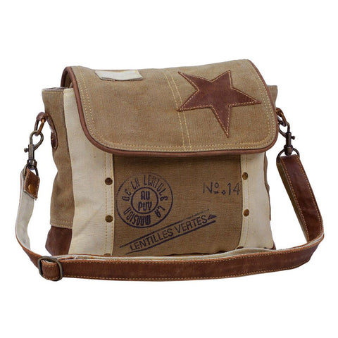 Canvas Shoulder Bag w/Leather Star