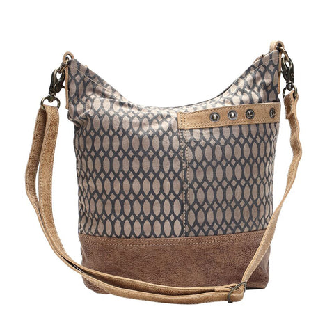 Canvas Honeycomb Print Shoulder Bag