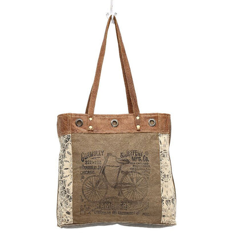 Canvas Tote Bag Bicycle Print