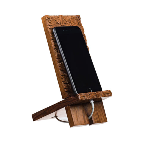 Handcarved Wood Smartphone Dock