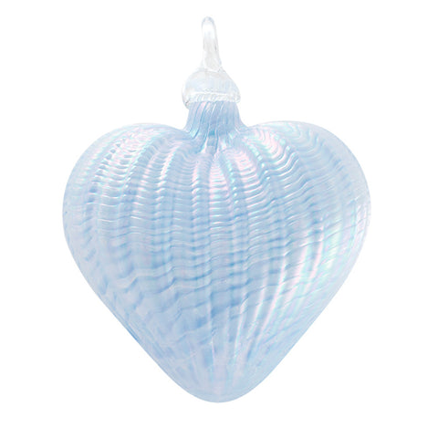 Classic Handblown Periwinkle Heart Ornament