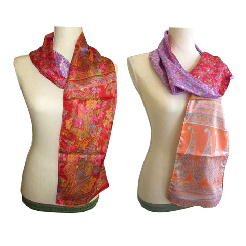 Double Sided Silk Scarf - 12 Multi Red Floral Purple Peach Paisley