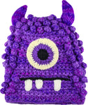 Fun Hand Knit Kids Monster Hat - Bally Purple