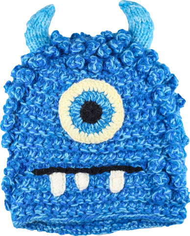 Fun Hand Knit Kids Monster Hat - Bally Blue