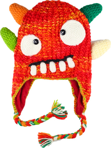 Fun Hand Knit Kids Monster Hat -Spike Red Orange