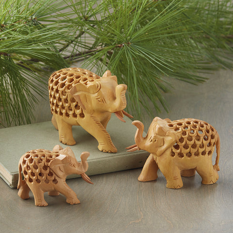 Double-Carved Wood Elephant Family - Set of 3