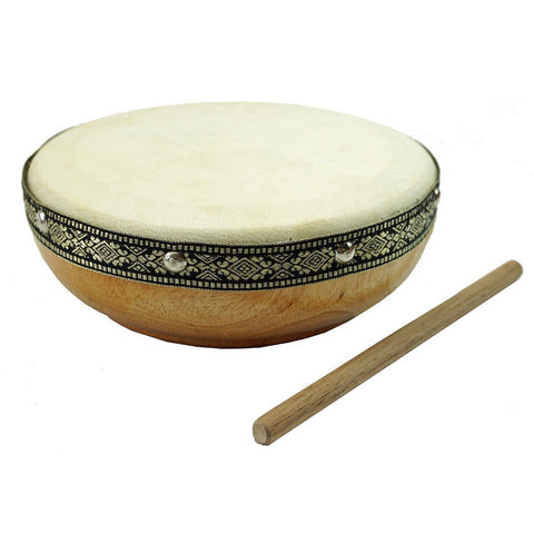 "7"" Frame Drum Natural with Woven Band and Ball Stick"