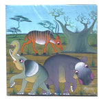 Original Painting African Wildlife - Elephant, Hippo