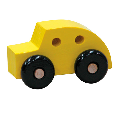 Handcrafted Wooden Car Toys Yellow Coupe