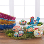 Big Blue Chicken box Decorates Easter Table with Eggs and  Bunny Boxes