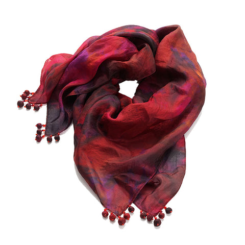 Fiery Silk Square Scarf