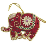 Heirloom Quality Hand-Beaded Red Elephant Ornament