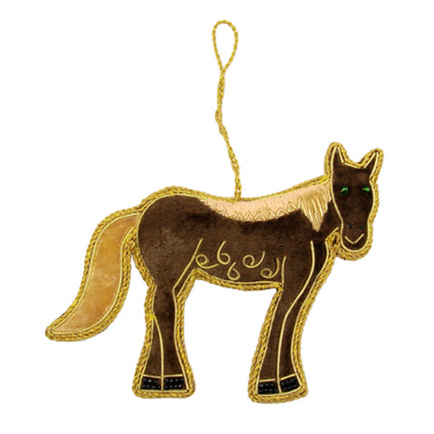Heirloom Quality Handcrafted Velvet Horse Ornament