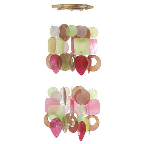 Capiz Shell Chime - Small Chandelier Pink & Green