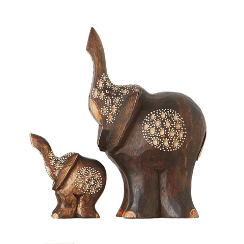 Collectible Hand Carved Parent and Child Elephant Set of 2