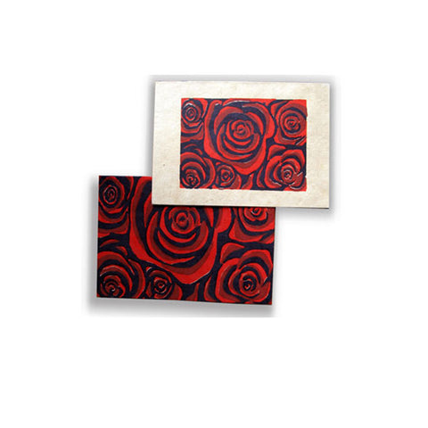 Red Rose Flower Card Set of 6, 2 designs