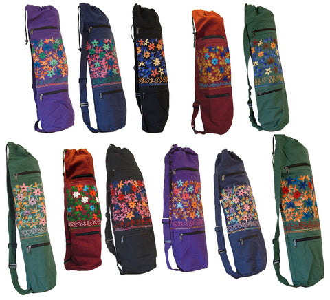 Embroidered Heavy Cotton Yoga Bag