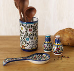 Hand Painted Floral Design Spoon Rest Shown with other items, sold separately